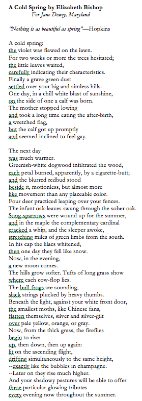 A Cold Spring by Elizabeth Bishop